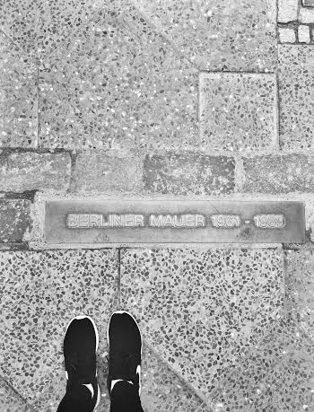 Plaque marking the Berlin Wall separating East and West Berlin